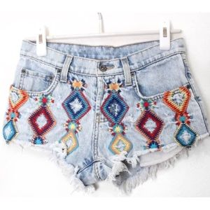 CARMAR Festival Cut Off Embroidered Jean Shorts